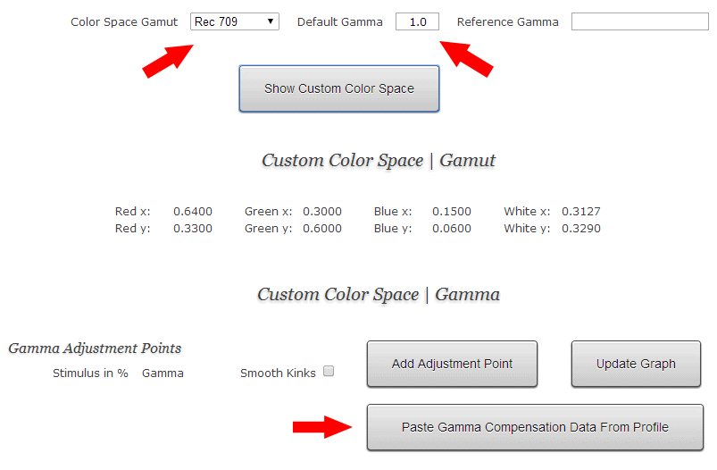 Lightspace Custom Color Space Creator Interface